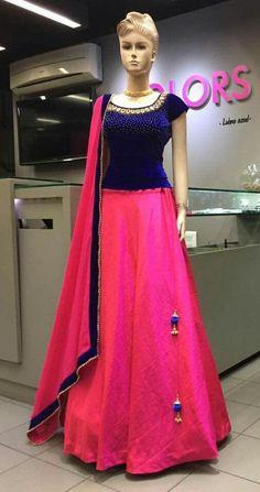 Mahi Fashion ~ Products ~ Pink Plain Banglori Silk Designer Lehenga With Embroidery Blouse ~ Shopify Choli Designs, Lehenga Designs, Kurta Designs, Half Saree Designs, Blouse Designs, Dress Designs, Half Saree Lehenga, Lehenga Gown, Lehnga Dress