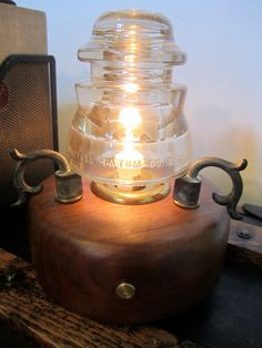 Vintage Glass Insulator Lamp by woskab on Etsy, $75.00