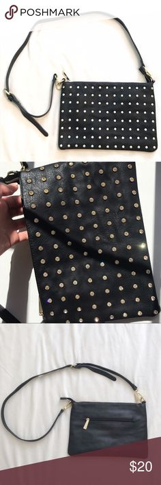 Charming Charlie Black Cross Body with Jewels Gorgeous faux leather cross body bag! Jewels make this bag so lovely ✨ Everything in this closet must go, so make me an offer! Thanks Charming Charlie Bags Crossbody Bags