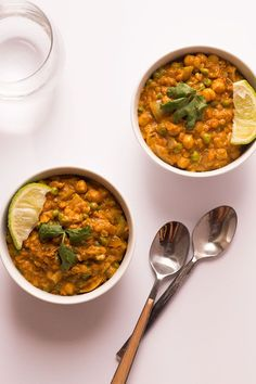 This recipe for Easy Lentil Curry uses convenient Indian Curry Paste with red lentils, frozen peas, canned low-sodium chickpeas, and creamy coconut milk