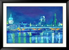 London art - Signed Print - x inches -London Bridge -London Chic - Colourful abstract print Colorful Artwork, Artwork Prints, London Bridge, London Art, Sign Printing, Abstract Print, Landscape Art, Landscapes, Paris
