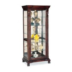 Glass-Curio-Cabinet-LivingRoom-Furniture-Corner-Shelf-Collectibles-Display-Case