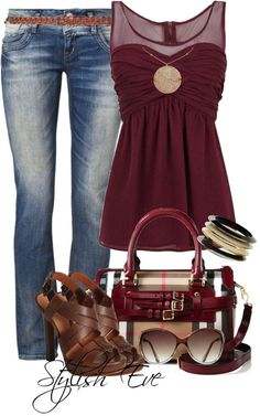 Very Cute Girls Day/Night out. Love The Wine Color Top ♥ ❁ ♥