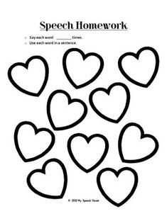 Free! Valentine themed worksheet to send home for speech homework. Fill in the hearts with articulation target words.