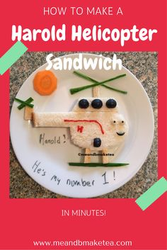 Want to make your own Harold Helicopter Sandwich? Read my short tutorial on the blog today! Here is what we did:  I studied a few images of Harold online and sketched out a few ideas for how I could make him and out of what. In the end we went with bread,