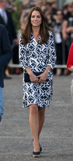 Huge fan of this stunning princess as she wears stylish outfits and doesn't mind repeating her look as she does it so elegantly - it can be royal to be frugal.  Kate Middleton Rocks a Diane von Furstenberg Wrap Dress in Australia
