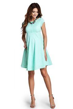 Delighted Mint Maternity Dress, cut back, raised flowers, inside lining, back zipper fastening, slightly elastic fabric