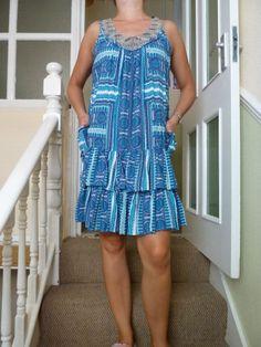 Monsoon Fashion Designer Tea Dress Size M UK Geometrical Blue Embroidered Collar