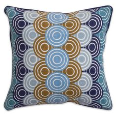 Jonathan Adler Blue Bobo Concentric Circle Pillow in In Stock Pillows & Throws - Living Room.