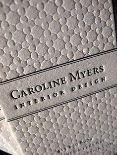 Interior Design Business Names | Textured Letterpress Business Cards - Interior Design Closeup