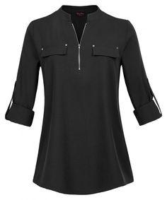 5e72598fd6e1e3 Plus Size Women's Notch-V Neck Roll-Up Sleeve Zip Up Casual Shirt Blouse