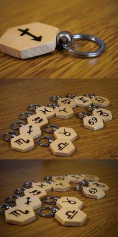 Zodiac Sign Wooden Keychains, Capricorn, Aquarius, Pisces, Aries, Taurus, Gemini, Cancer, Leo, Virgo, Libra, Scorpio, Sagittarius, Wood