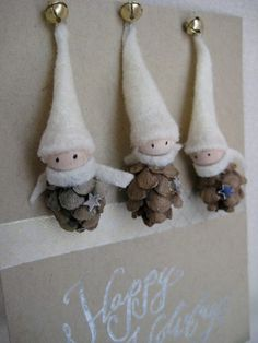Items similar to Woodland Gnome Ornaments Tiny Pine Cone Elves -- set of 3 on Etsy Gnome Ornaments, Diy Christmas Ornaments, Christmas Projects, Holiday Crafts, Holiday Fun, Christmas Decorations, Pinecone Ornaments, Holiday Decorating, Ball Ornaments