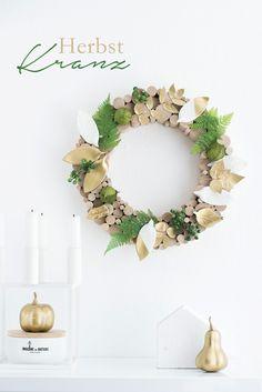 s i n n e n r a u s c h: Herbst-Kranz mit Fimo Blättern