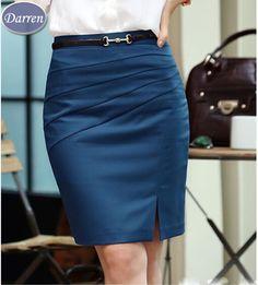 Primavera verano otoño moda trabajo faldas mujeres de Color sólido delgado Hip medio cintura falda recta para las muchachas
