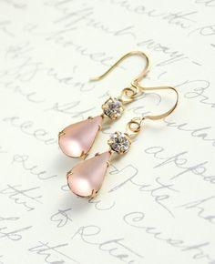 Frosty pink glass teardrop earrings, with clear crystal rhinestones, set in antique brass