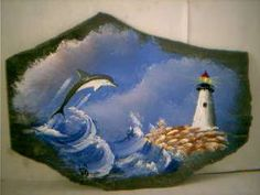 Original Painting that Ive painted of a Dolphin and Lighthouse. Painting is Signed, and Dated on the back. Slate is from the Virginia