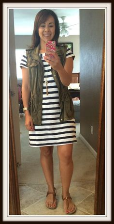 Spring Outfit: Striped Dress with Military Vest, Gold Necklace, Tan Sandals