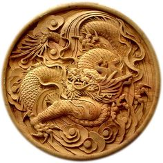 Wood carved dragon