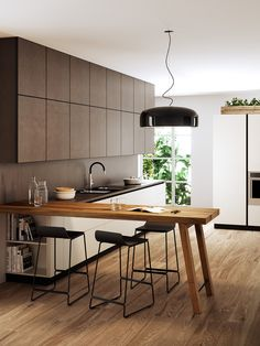 A Guide to Efficient Small Kitchen Design for Apartment Having limited space in an apartment doesn't mean you don't deserve a nice kitchen. See what a small kitchen design is all about. Peninsula Kitchen Design, Kitchen Bar Design, Interior Design Kitchen, Kitchen Layout, Island Design, Kitchen Desks, New Kitchen, Kitchen Shelves, Cozy Kitchen