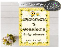 Shower Beehive Yellow Bee Baby Editable Greetings Welcome Guests WELCOME SIGN, Digital Download, Baby Shower Idea - bee01 #babyshowergames #babyshower