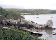 A P-39 Aircobra loaned by the United States to the USSR, after a forced landing on a lake near Kiev, 1942.
