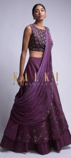 Mulberry Purple Lehenga Choli With Kundan Work And Prestitched Dupatta Online - Kalki Fashion Choli Dress, Lehenga Blouse, Lehenga Choli, Anarkali, Indian Wedding Outfits, Indian Outfits, Lengha Design, Indian Designer Suits, Stylish Blouse Design