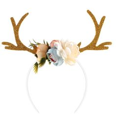 b9a3b0d110 Deer Antler Headband With Flowers Blossom Novelty Party Hair Band Head Band  Christmas Fancy Dress Costumes