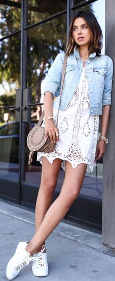 Sneakers And Lace Outfit Idea by Vivaluxury