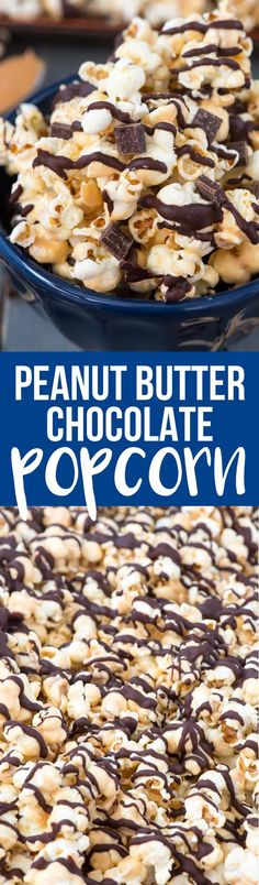Chocolate Peanut Butter Popcorn is an easy 4 ingredient popcorn recipe that is perfect for dessert or movie night, or for gifting! via @crazyforcrust
