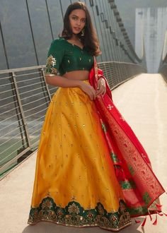 #yellow #embroidery #lehenga #choli #dupatta #indianwear #traditional #outfit #beautiful #bride #new #designer #collection #ootd #wedding #time #womenswear #online #shopping Silk Dupatta, Lehenga Choli, Lahenga, Green Blouse, Cutwork, Working Woman, Embroidered Silk, Mustard Yellow, Silk Satin