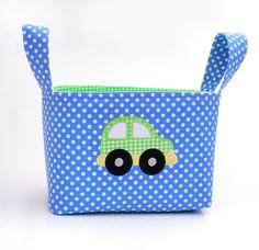 Fabric Organizer Basket Bin Car Applique. $25.00, via Etsy.