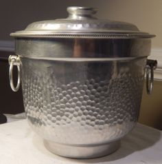 Vintage Aluminum Hand Hammered Ice Bucket & Lid by NASCO ITALY