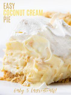 Kokos Desserts, Coconut Desserts, Köstliche Desserts, Coconut Recipes, Delicious Desserts, Sugar Cream Pie Recipe, Cream Pie Recipes, Coconut Cream Pie Recipe With Pudding, Easy Coconut Cream Pie