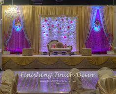Flower wall wedding decoration. Indian wedding stage