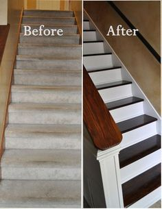 Revamp your staircase! Getting rid of old carpet and painting your stairs will make a huge difference. Find the tutorial on In Our Spare Time.