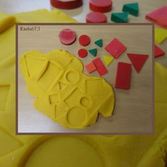 "Printing with shapes in play dough - from Rachel ("",)"