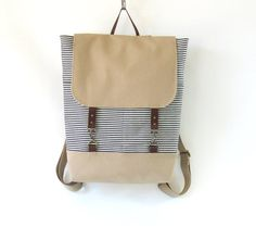 Navy Stripe Denim Backpack