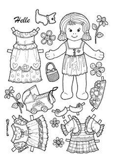 Karen`s Paper Dolls: Helle 1-2 Paper Doll to Colour. Helle 1-2 påklædningsdukke…