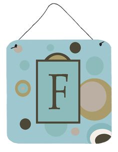Letter F Initial Monogram - Blue Dots Wall or Door Hanging Prints