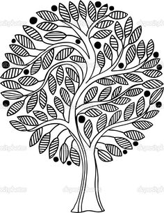 Advanced Coloring Pages - Tree Coloring Page Tree Coloring Page, Colouring Pages, Adult Coloring Pages, Coloring Books, Pattern Coloring Pages, Mandala Coloring Pages, Coloring Sheets, Madhubani Art, Vector Trees