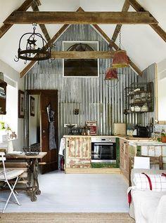 corrugated tin walls // barn style