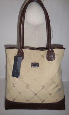 9a542a6e6d3 Tommy Hilfiger SHOPPER Tote Handbag Purse Brown/beige Fabric Faux Leather  for sale online | eBay