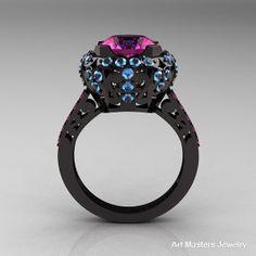 pink gold engagement rings | ... Gold 3.0 Carat Pink Sapphire Blue Topaz Engagement Ring, Wedding Ring