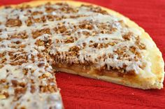 apple pie pizza-  very tasty!  I doubled the amount of topping and served with fresh whipped cream.  A keeper!