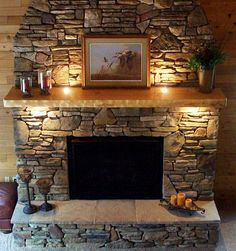decoration excellent faux stone veneer fireplace using log cabin ...