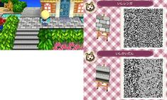 Gray Stone Path and Stairs - Animal Crossing New Leaf QR Codes Animal Games, My Animal, Acnl Qr Code Sol, Brick Path, Stone Path, Film Manga, Acnl Paths, Motif Acnl, Grey Brick