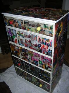 Easy-to-do decoupaged dresser with comic books