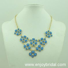 Light Blue Necklace, Handmade Bib Necklace/Statement Bubble Necklace,Bridesmaid Gifts,Beaded Jewelry$16.00
