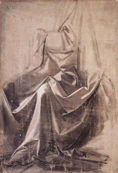 Leonardo da Vinci, Drapery for a Seated Figure. Brush and grey-brown distemper on primed grey linen canvas, 31.9 x 21.8cm.